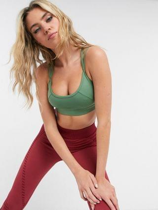 WOMEN South Beach strappy sports bra in khaki green