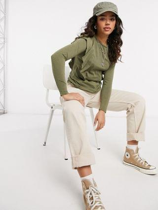 WOMEN Only t-shirt with ruffle detail and long sleeves in khaki