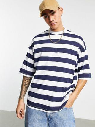 oversized striped t-shirt in navy & white