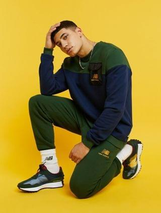 New Balance cut & sew sweatshirt in navy & green exclusive to