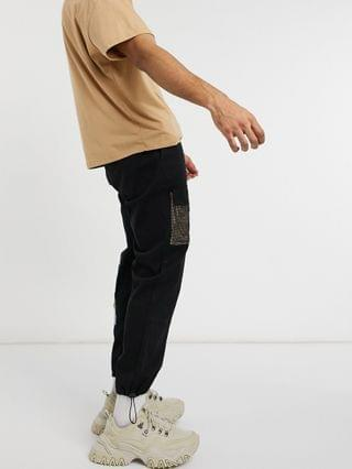 Liquor N Poker cargo pants with pockets in black