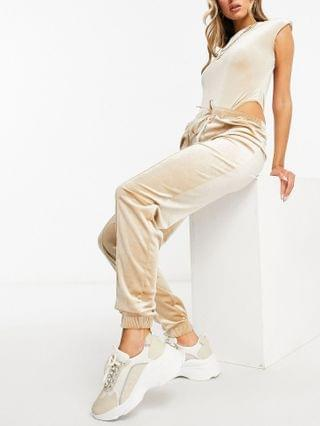 WOMEN Moda Minx velour bodysuit with shoulder pad detail and sweatpants in champagne