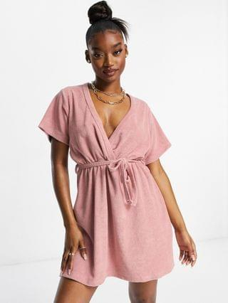 WOMEN New Girl Order Exclusive terrycloth wrap mini dress in blush pink
