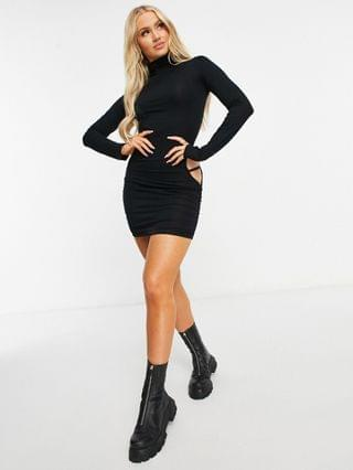 WOMEN ASYOU high neck mini dress with hip cutouts in black