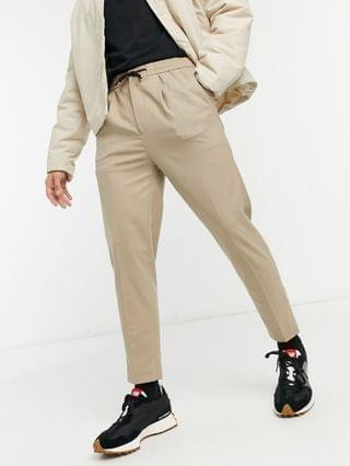 tapered smart jogger with half elasticized waist