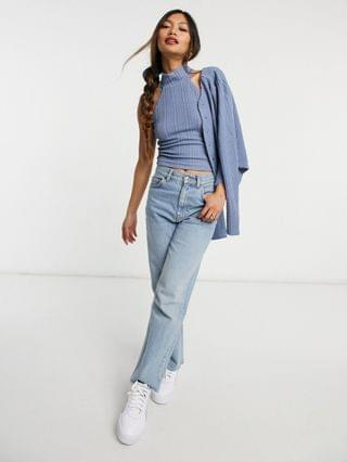 WOMEN Fashion Union high neck jersey crop top in textured jersey set