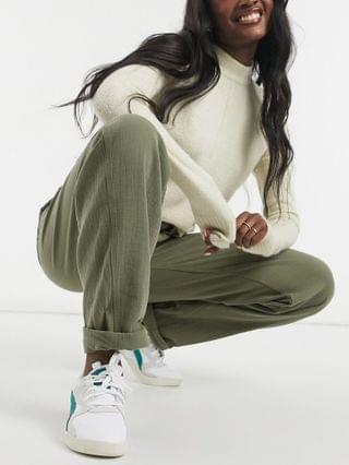 WOMEN Tall slouchy joggers in khaki cheesecloth