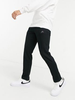 Jack & Jones Premium co-ord textured polo and jogger in bla