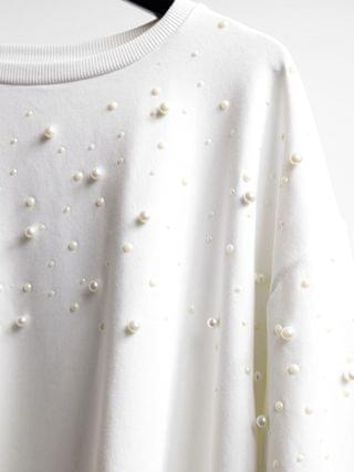 WOMEN River Island Plus pearl sweatshirt in white