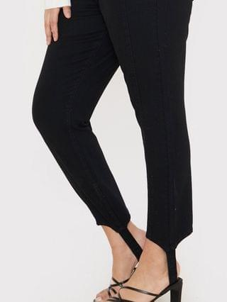 WOMEN In The Style Plus x Lorna Luxe skinny denim jean with stirrup detail in black