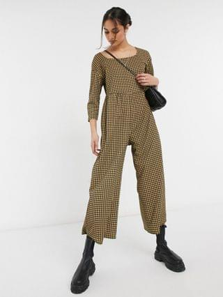 WOMEN square neck textured smock jumpsuit in mini check