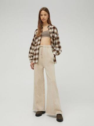 WOMEN Pull&Bear plaid overshirt shacket in brown