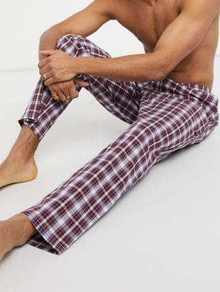 lounge pajama pants in burgundy plaid