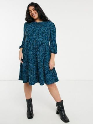 WOMEN New Look Curve soft touch smock dress in blue dot pattern