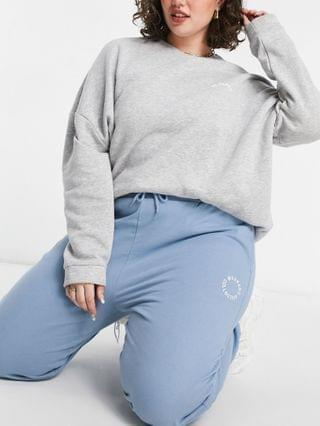 WOMEN Weekend Collective Curve oversized sweatpants set with logo in washed blue