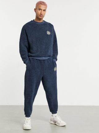 co-ord tracksuit in navy teddy borg with chest embroidery