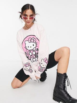 WOMEN New Girl Order x Hello Kitty oversized long sleeve t-shirt with front and sleeve graphic