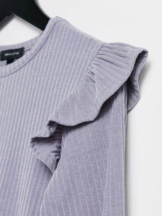 WOMEN New Look soft rib ruffle shoulder top in off gray lilac