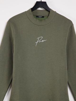Jack & Jones Premium co-ord chest logo sweatshirt with high neck in khaki