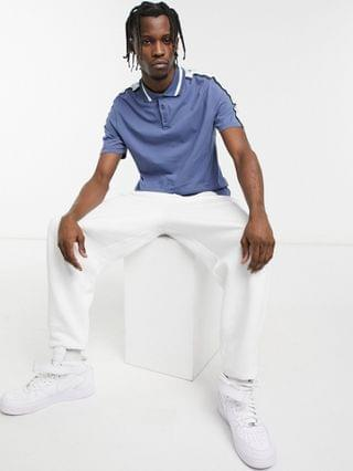 skinny polo shirt in blue with sleeve taping
