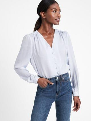 WOMEN Soft Satin V-Neck Blouse