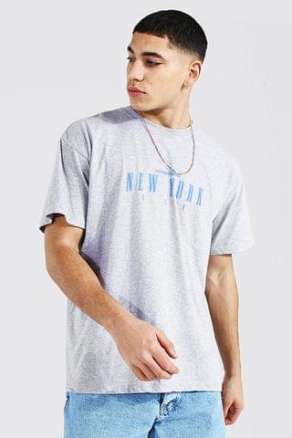 MEN Oversized New York Print T-shirt