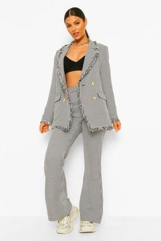 WOMEN Dogtooth Straight Leg Trousers