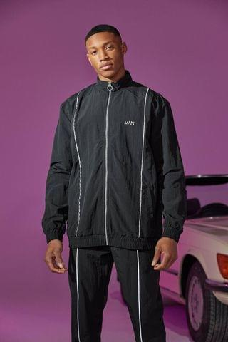 MEN Shell Funnel Neck Top With Reflective Piping