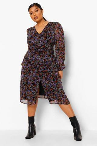 WOMEN Plus Floral Ruched Puff Sleeve Midi Dress