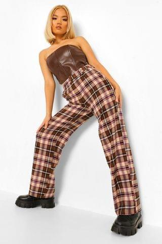 WOMEN Petite Check Wide Leg Trousers