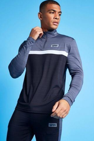MEN Active Marl Colour Block 1/4 Zip Top