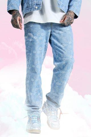 MEN Relaxed Fit Paisley Jacquard Jean