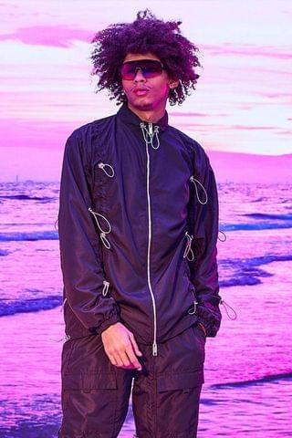 MEN Oversized Shell Jacket With All Over Bungee