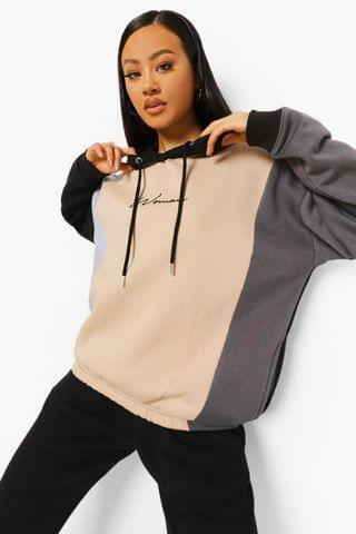 WOMEN Oversized Colour Block Signature Hoodie