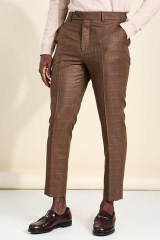 MEN Tapered Check Cropped Smart Trouser