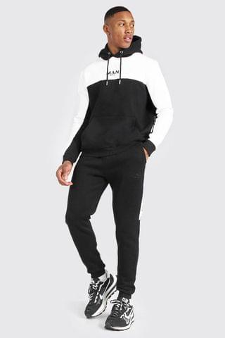 MEN Colour Block Hooded Tracksuit With Tape