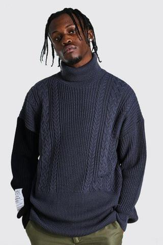 MEN Roll Neck Cable Jumper With Woven Label