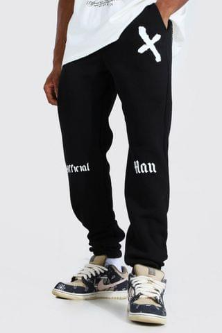 MEN Official Man Graffiti Print Regular Joggers