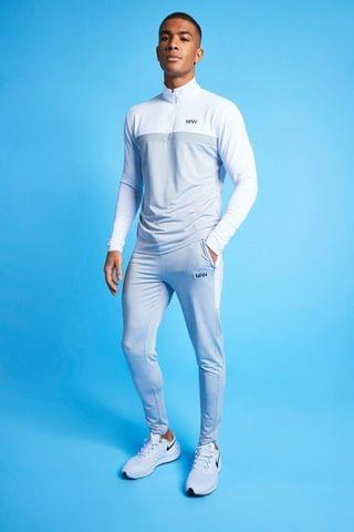 MEN Active Marl Colour Block 1/4 Tracksuit