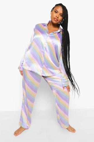 WOMEN Plus Pastel Stripe Satin Pyjamas