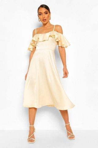 WOMEN Satin Cold Shoulder Ruffle Midi Skater Dress