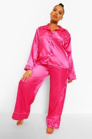 WOMEN Plus Love Embroidered Satin Pyjamas