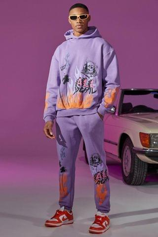 MEN Oversized Flame Print Hooded Tracksuit With Tab