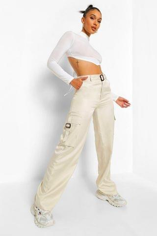 WOMEN Strap Detail Wide Leg Cargo Trouser