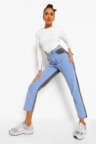 WOMEN Colour Block Denim Straight Leg Jean