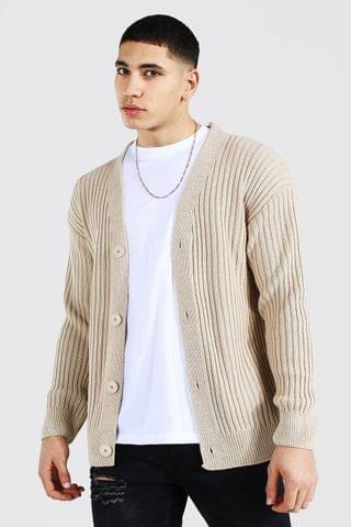 MEN Loose Fit Ribbed Knit Button Through Cardigan