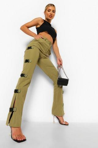 WOMEN Buckle Side Skinny Cargo Trousers