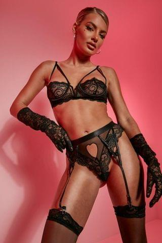 WOMEN Heart Cutout 3pc Lingerie Set