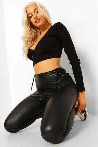 WOMEN Lace Up Leather Look Pu Leggings