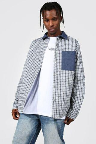 MEN Quilted Checked Overshirt With Contrast Pocket